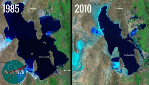 Great Salt Lake Shrinkage, Utah Satellite image.