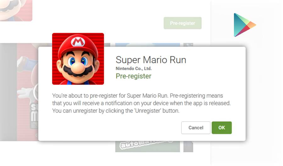 Super Mario Run pre-register-Google play store