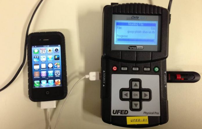 Cellebrite UFED device connected to an iPhone 4.
