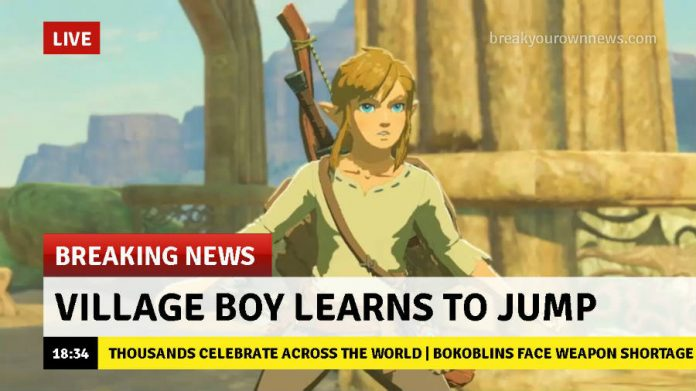 Link learns to jump - Zelda Breath of the Wild meme