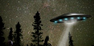 Alien Ship - Night Sky