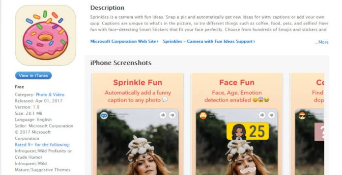 Microsoft's Sprinkles is already available at Apple's app store