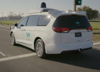 Waymo's Pacifica Minivan from the rear.