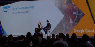 Diane Green and Bernd Leukert on stage