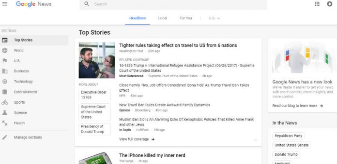 Google news redesign, new layout