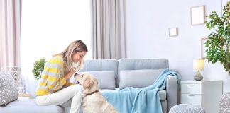 Woman with Pet at Home