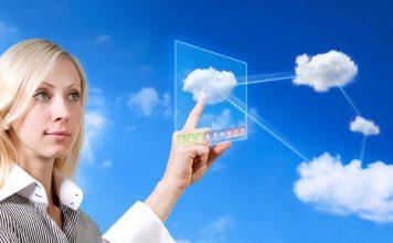 Business Woman Cloud Computing Concept