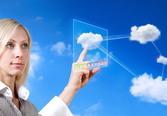 Business Woman Cloud Computing Concept