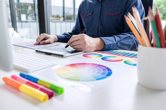 Graphic Designer Picking Colors for New Design