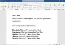 Microsoft Is Replacing Calibri as Default Word Font; Offers Five New Candidates
